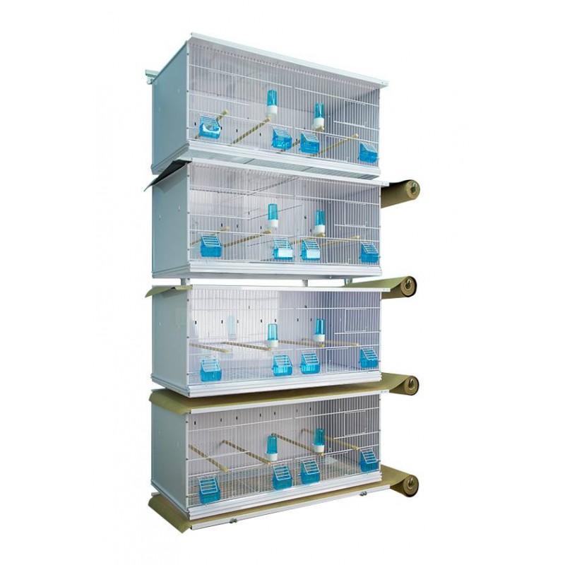 Batterie de 4 cages 90x40x40 sur rouleaux - New Canariz