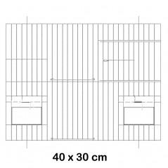 Façade de cage en métal avec portes mangeoires 40x30cm - Fauna