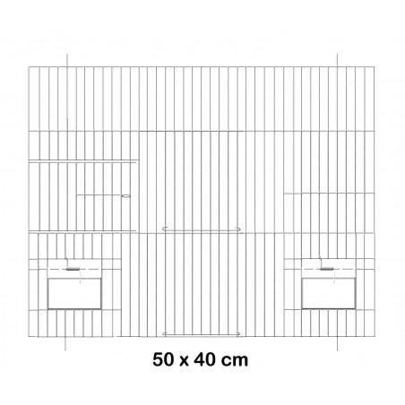 Façade de cage en métal avec portes mangeoires 50x40cm - Fauna