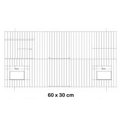 Façade de cage en métal avec portes mangeoires 60x30cm - Fauna