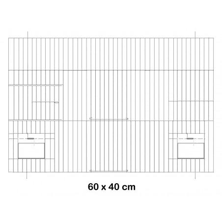 Façade de cage en métal avec portes mangeoires 60x40cm - Fauna