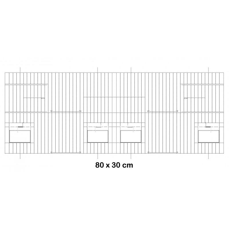 Façade de cage en métal avec portes mangeoires 80x30cm - Fauna