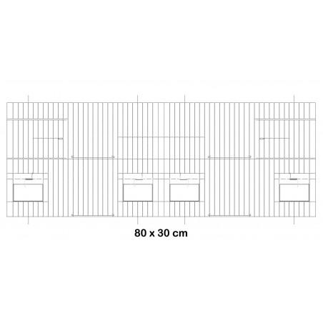 Fachada de la jaula de metal con puertas de comederos 80x30cm - Fauna