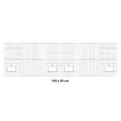 Façade de cage en métal avec portes mangeoires 100x30cm - Fauna