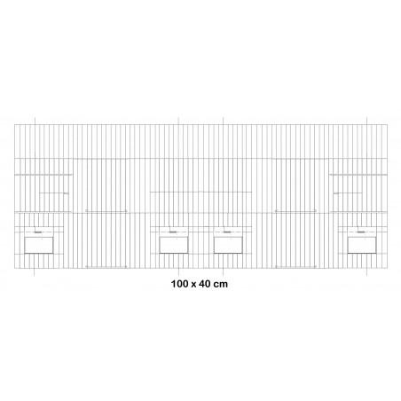Façade de cage en métal avec portes mangeoires 100x40cm - Fauna