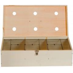 Caja de madera cerrada de aves de 60 x 30 x 16 cm