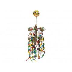 Jouet Perche en bois double avec corde à noeufs