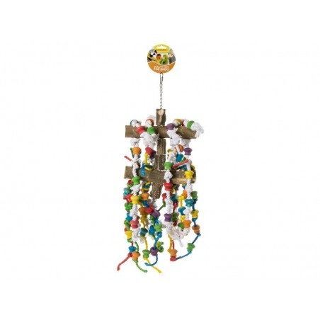 Toy Pole double wood with rope knots