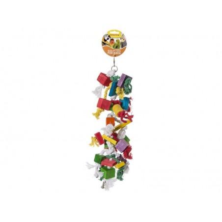 Jouet Corde à noeuds avec bloc en bois 47cm