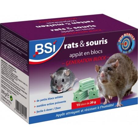 Génération blocs, Appât en blocs pour rats et souris - 15 x 20gr - BSI